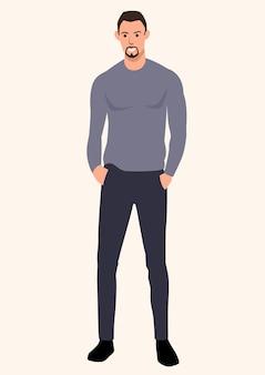 Ilustração simples de um cara magro e alto vestindo um suéter