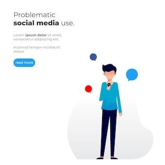 Ilustração simples de um homem segurando um celular com o tema problemático de uso de mídia social