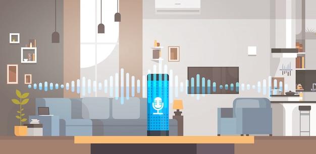 Ilustração sobre a tecnologia de reconhecimento de assistente ativado por voz inteligente em casa
