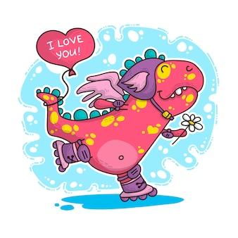 Ilustração sobre dinossauro apaixonado