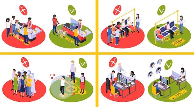 Ilustração sobre distanciamento social e nova normalidade