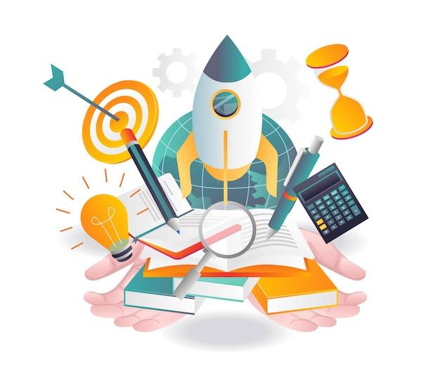 Ilustração sobre escola e negócios de investimento em aprendizagem