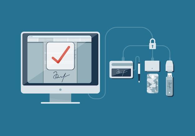 Ilustração sobre o tema assinatura digital