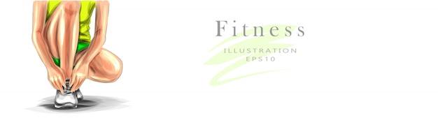 Ilustração sobre o tema de esportes e fitness. uma mulher jovem e bonita com uma boa figura atlética e com roupas brilhantes está se preparando para uma corrida. conceito de estilo de vida saudável.