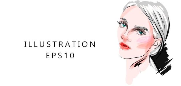 Ilustração sobre o tema de maquiagem e beleza. desenho de arte elegante. mão desenhada glamour jovem maquiagem rosto com belos olhos