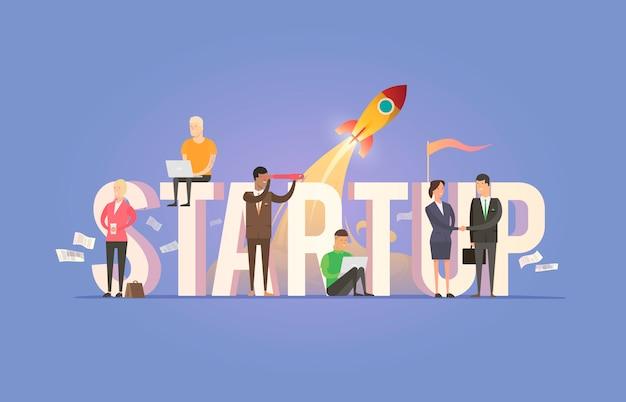 Ilustração sobre o tema: inicialização, equipe, trabalho em equipe, sucesso no planejamento de negócios