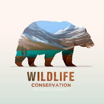 Ilustração sobre os temas de animais selvagens da américa, sobrevivência na natureza, caça, camping, viagem. lamdscape da montanha. urso. Vetor Premium