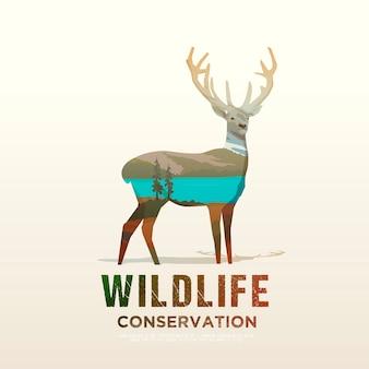 Ilustração sobre os temas de animais selvagens da américa, sobrevivência na natureza, caça, camping, viagem. paisagem montanhosa veado.