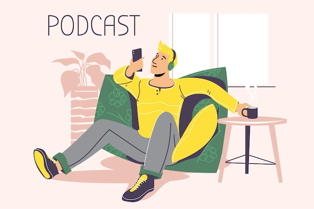 Ilustração sobre podcasting. pessoas ouvindo áudio em fones de ouvido