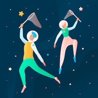 Ilustração sonhando espaço. ilustração futurista com jovens cosmonautas apanha estrelas no espaço.