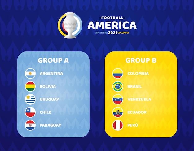 Ilustração south america football 2021 argentina colômbia
