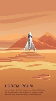 Ilustração space shuttle chegando no planeta vermelho