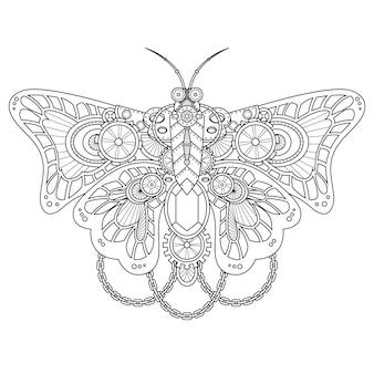 Ilustração steampunk borboleta estilo linear
