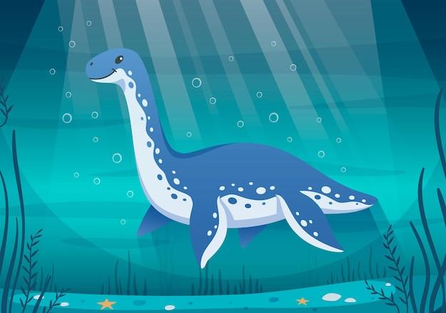 Ilustração subaquática de dinossauros