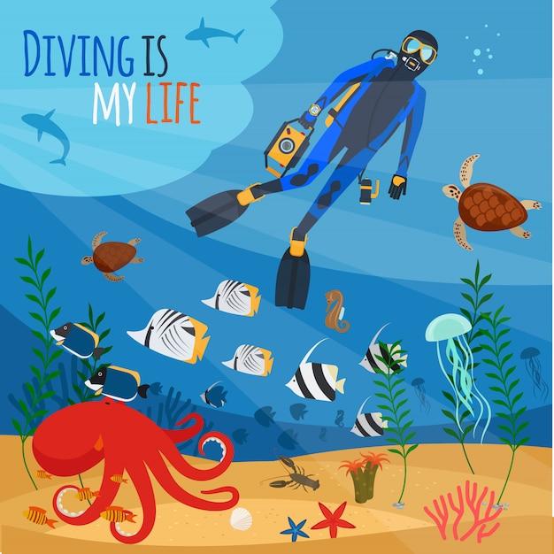 Ilustração subaquática de mergulhador