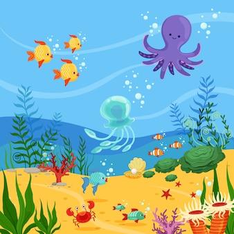 Ilustração subaquática do fundo com animais do oceano