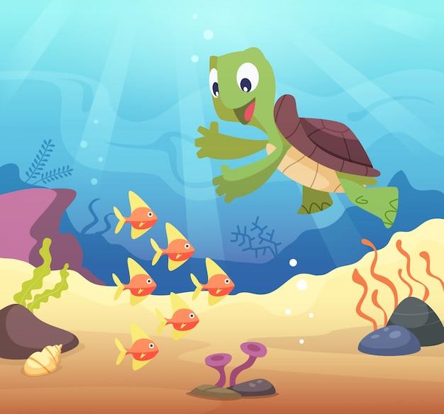 Ilustração subaquática do mar com tartaruga de desenho animado
