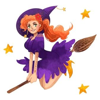 Ilustração suculenta de uma linda bruxa ruiva no halloween andando em uma vassoura em um vestido roxo com estrelas