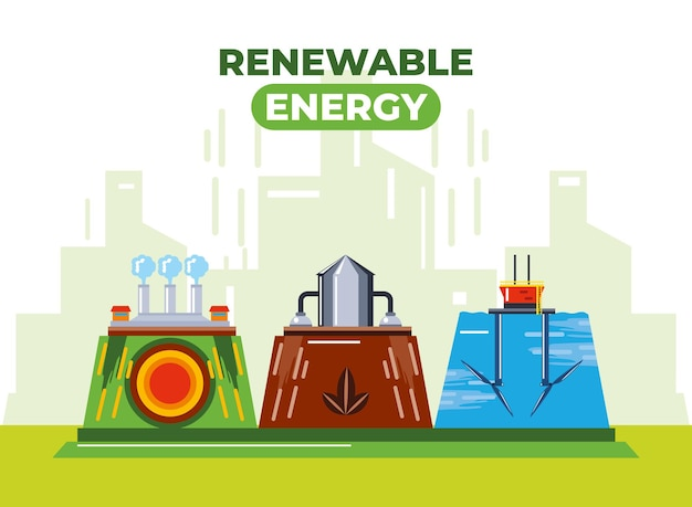 Ilustração sustentável de recursos hídricos geotérmicos de energia renovável