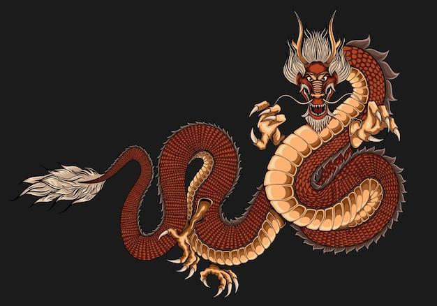 Ilustração tatuagem de dragão