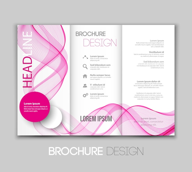Ilustração template folheto design com linhas coloridas