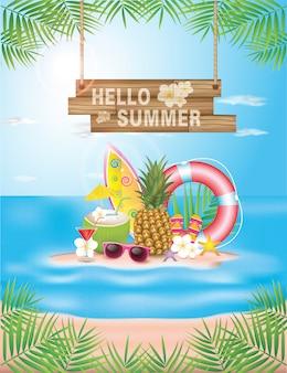 Ilustração tipográfica de horário de verão. plantas tropicais, coco, coquetel, sapatos de praia e óculos de sol. projeto.