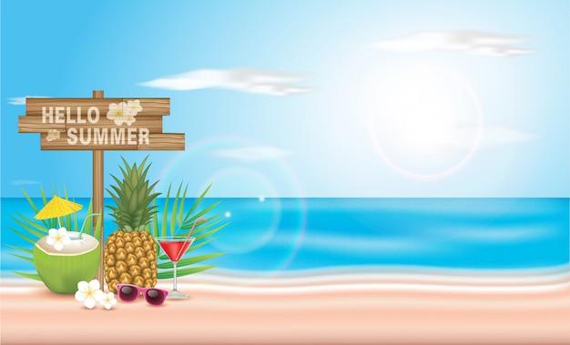 Ilustração tipográfica de horário de verão. plantas tropicais, coco e coquetel. projeto.