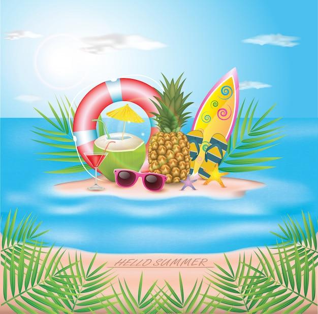 Ilustração tipográfica de horário de verão. plantas tropicais, coco, prancha de praia e coquetel. projeto.