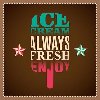 Ilustração tipográfica de sorvete