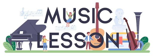 Ilustração tipográfica do cabeçalho da aula de música