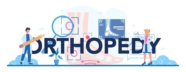 Ilustração tipográfica do cabeçalho do médico ortopédico