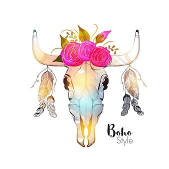 Ilustração tirada à mão da cabeça colorida do touro com belas flores e penas étnicas.
