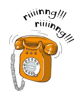 Ilustração tirada do telefone da laranja mão do vintage.