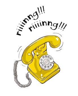 Ilustração tirada do telefone do vintage mão amarela.
