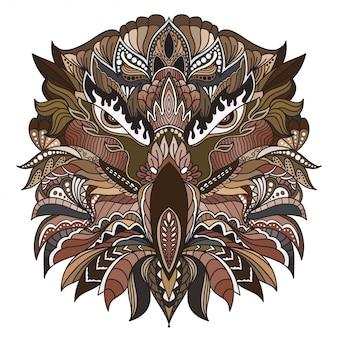 Ilustração tirada mão da cabeça da águia de zentangle da garatuja do vetor.