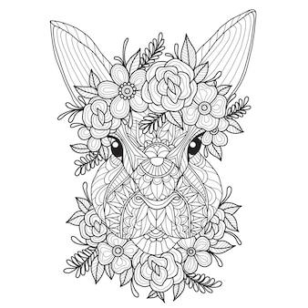 Ilustração tirada mão do coelho bonito.