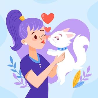 Ilustração tirada mão do dia internacional do beijo com mulher e gato