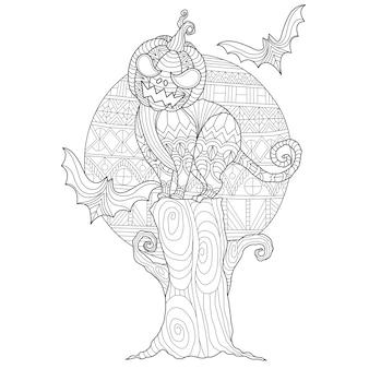 Ilustração tirada mão do gato de halloween.