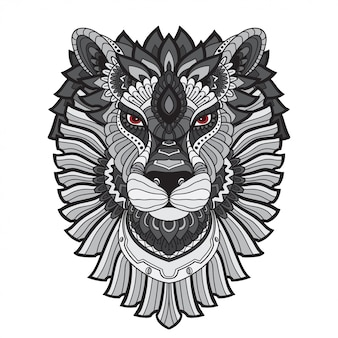 Ilustração tirada mão do leão de zentangle da garatuja do vetor.