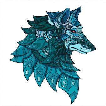 Ilustração tirada mão do lobo de zentangle da garatuja do vetor.