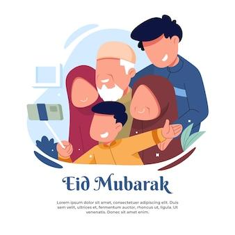Ilustração tirando fotos com os avós durante o eid