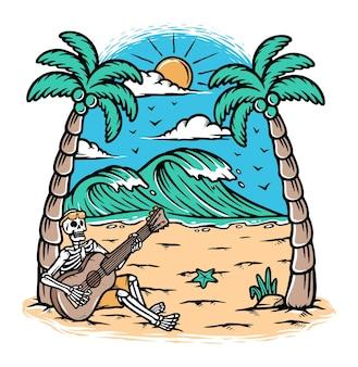 Ilustração tocando violão na praia