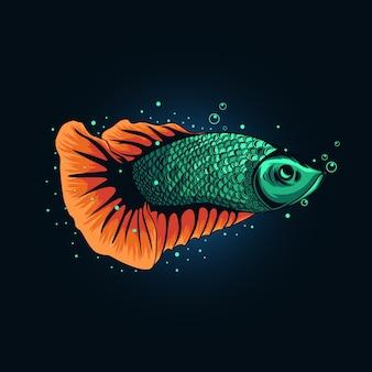 Ilustração tosca betta fish