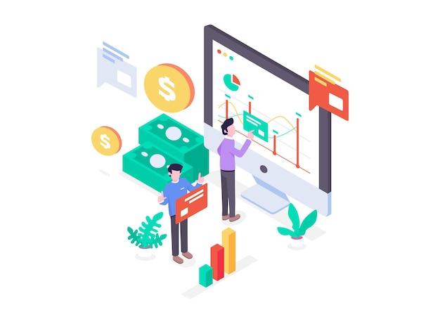 Ilustração trabalhadores fazendo análise financeira com diagrama de fluxo de caixa dinheiro, lucro e perda, estilo de design plano isométrico