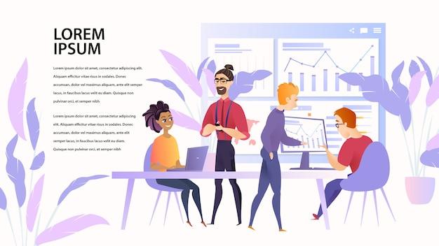 Ilustração, trabalhando, espaço, equipe, pessoas, especialista