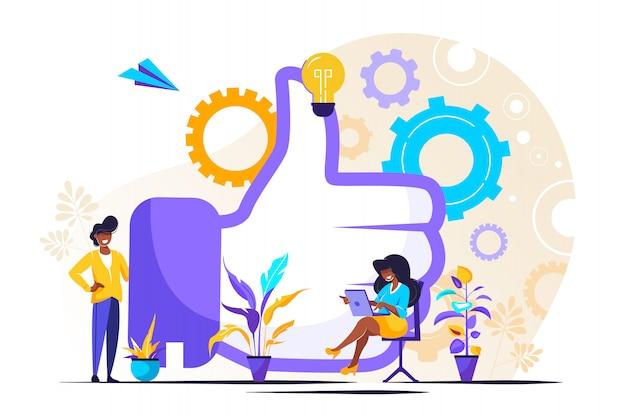 Ilustração, trabalho em equipe desempenho, brainstorming