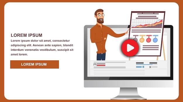 Ilustração transmissão online business webinar