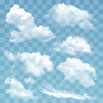 Ilustração transparente nuvens diferentes.