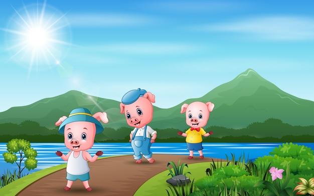 Ilustração três de porcos caminhando na estrada