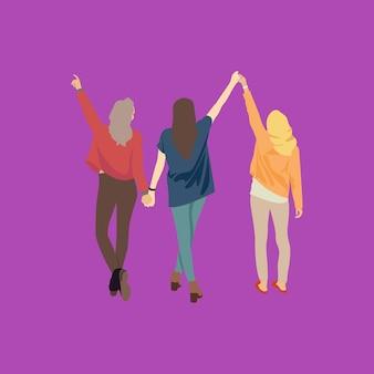 Ilustração três mulheres são amigáveis, caminham juntas.